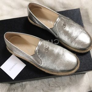 Chanel Moccasin loafers silver 36 great cond